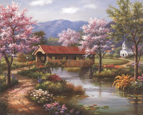 Covered Bridge in Spring Fine Art Print by Sung Kim at
