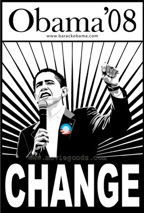Barack Obama  Change Black and White Campaign Poster