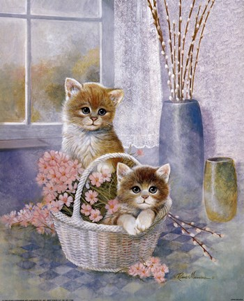 Flower Basket with Cats Fine Art Print by Ruane Manning at