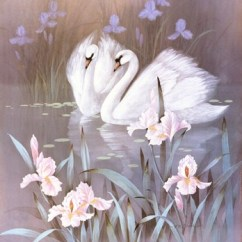 Best Artwork For Living Room 5x7 Area Rug In Swans With Waterlilies Fine Art Print By T.c. Chiu At ...