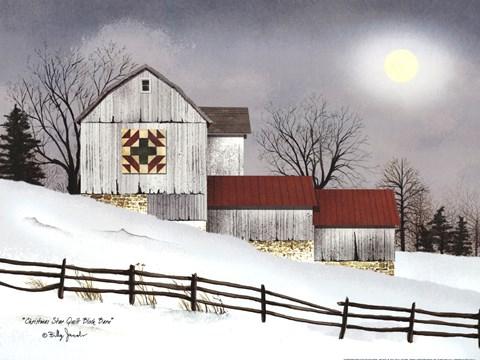 Girl Nursery With Wallpaper Christmas Star Quilt Block Barn Fine Art Print By Billy