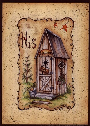 His Outhouse Fine Art Print by Mary Ann June at