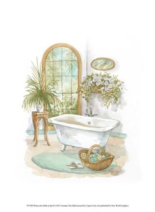 Watercolor Bath In Spa Ii Fine Art Print By Jerianne Van