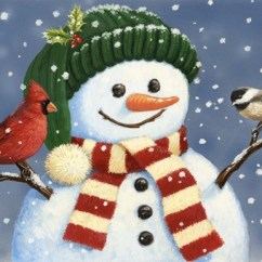 Canvas Prints For Living Room Wall Paint Images Snowman With Cardinal And Chickadee Fine Art Print By ...