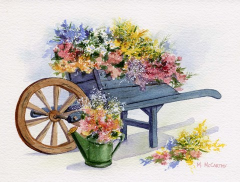 framed artwork for living room decor grey walls flower cart fine art print by maureen mccarthy at ...