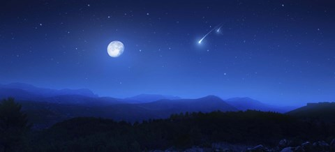 Mountain range on a misty night with moon and starry sky Fine Art Print by Evgeny Kuklev