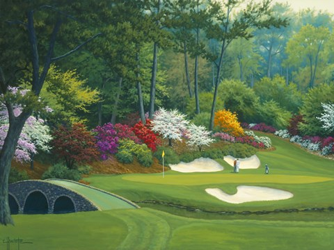 Girl Nursery With Wallpaper Augusta On The 12th Hole Fine Art Print By Charles White