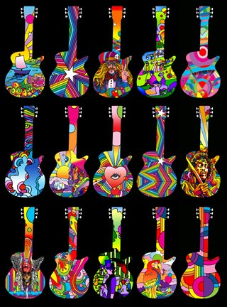 Girl Nursery With Wallpaper Pop Art Guitars Fine Art Print By Howie Green At
