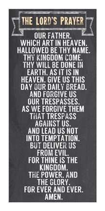 kitchen game solid wood chairs the lord's prayer - chalkboard style fine art print by ...
