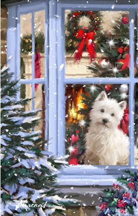 Dog At Window 1 Fine Art Print By The Macneil Studio At