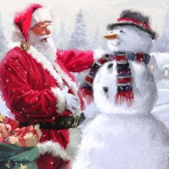 Best Kitchen Mats Price Pfister Faucet Replacement Parts Santa And Snowman 3 Fine Art Print By The Macneil Studio ...