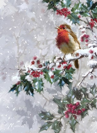 Vintage Wallpaper Animals Robin On Holly 2 Fine Art Print By The Macneil Studio At