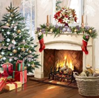 Xmas Fireplace 2 Fine Art Print by The Macneil Studio at ...