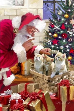 Santa and kittens Fine Art Print by The Macneil Studio at