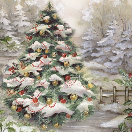 Christmas Tree In Snowy Woods Fine Art Print by DBKArt Licensing at FulcrumGallerycom