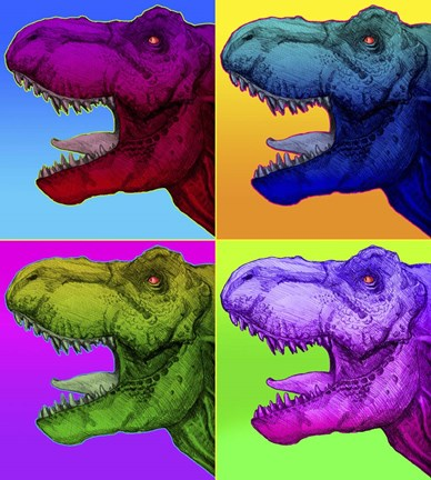 canvas prints for living room outdoor rooms and kitchens pop art dinosaurs 1 fine print by howie green at ...