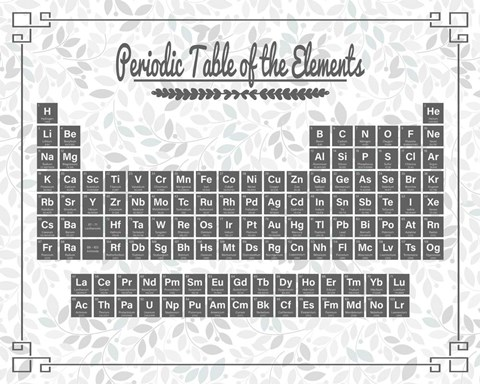 Periodic Table Gray and Teal Leaf Pattern Light Fine Art