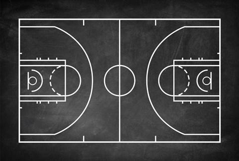 Basketball Court Chalkboard Background Fine Art Print by
