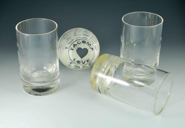 4 glass tumblers, Tacoma Love