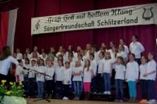 Schon der Kinderchor der Dieffenbachschule konnte, mit etwa 50 Stimmen und den Liedern unter Susanne Weidmann die Freude am Gesang unterstreichen. Erfreulich, dass auch viele Eltern der Kids bis zum Ende des Programms zu den Zuhörern gehörten.