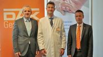 Priv.-Doz. Dr. Thomas Menzel, Sprecher des Vorstandes am Klinikum Fulda und Prof. Dr. med. Tobias Neumann-Heafelin und Christian Beser, Chef der DAK-Gesundheit in Fulda