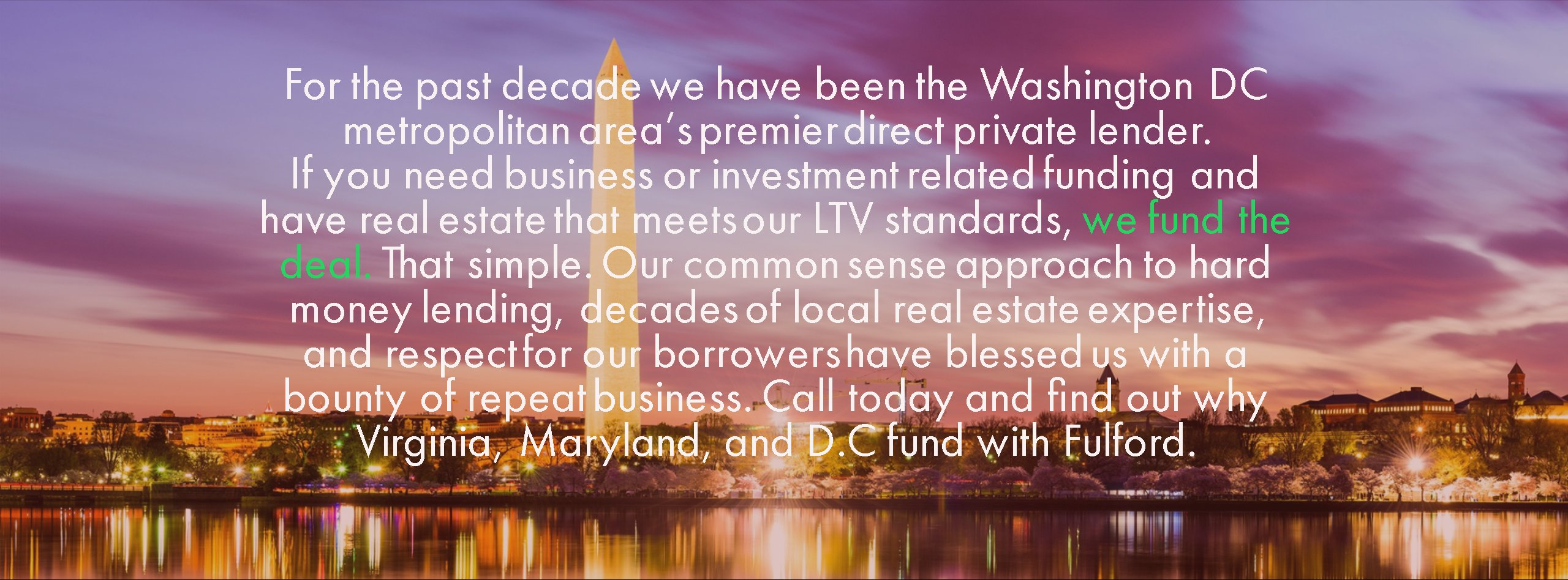 Hard Money D.C, MD, and VA Private Lender Banner