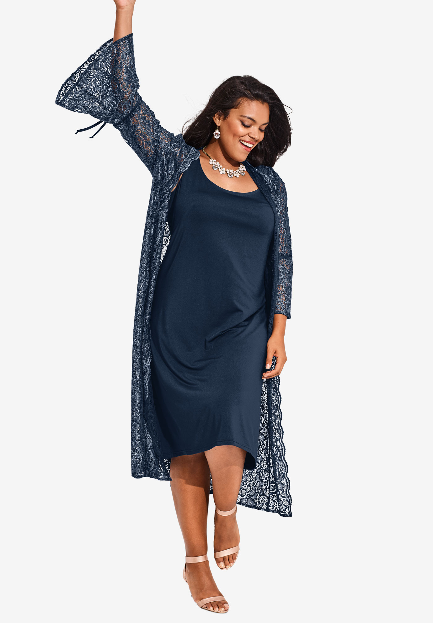 Duster Jacket Dress Set with Open Front  Plus Size Work