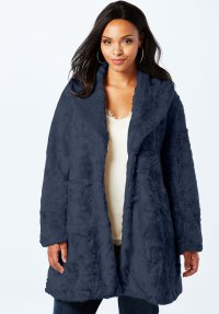Shawl Collar Faux-Fur Coat | Plus Size Coats & Jackets ...