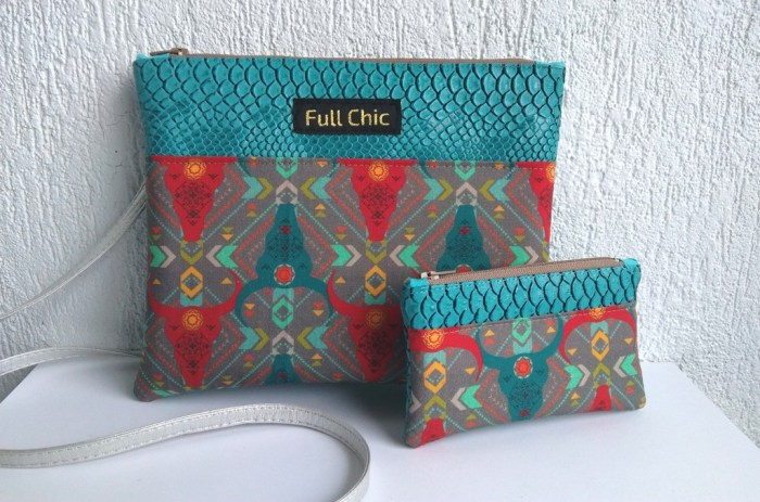 duo pochette buffles turquoise