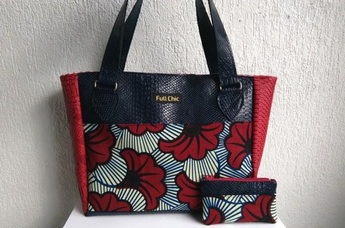 duo sac bleu wax fleurs rouge