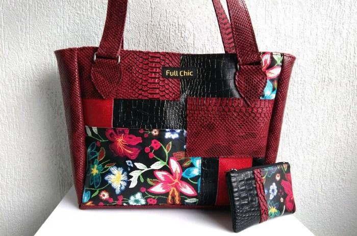 duo sac patch rouge et noir