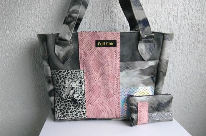 duo sac patchwork leopard gris rose