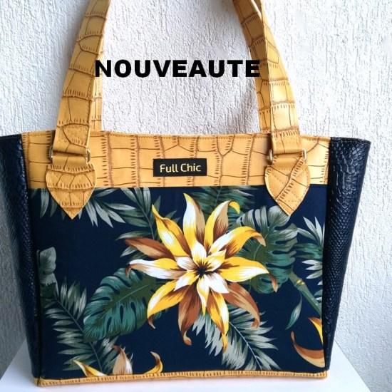 sac ocre fleurs