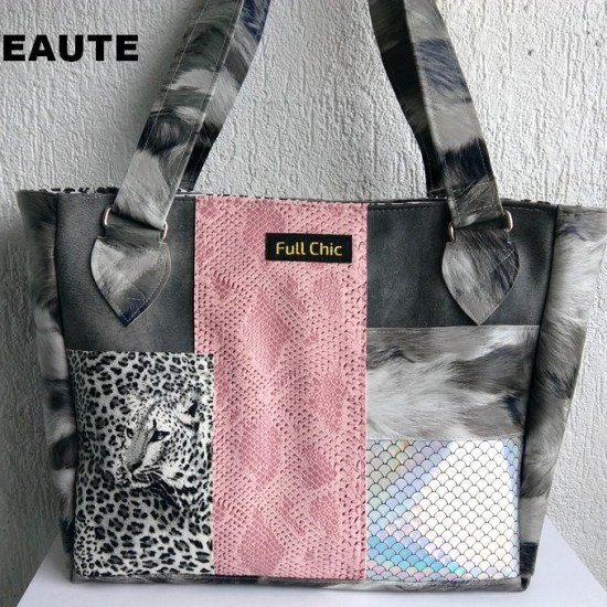 sac patch leopard gris rose