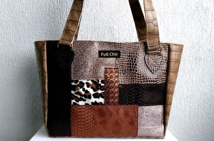 sac patchwork marron