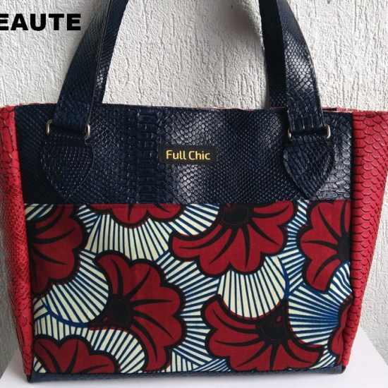 sac wax bleu fleurs rouge