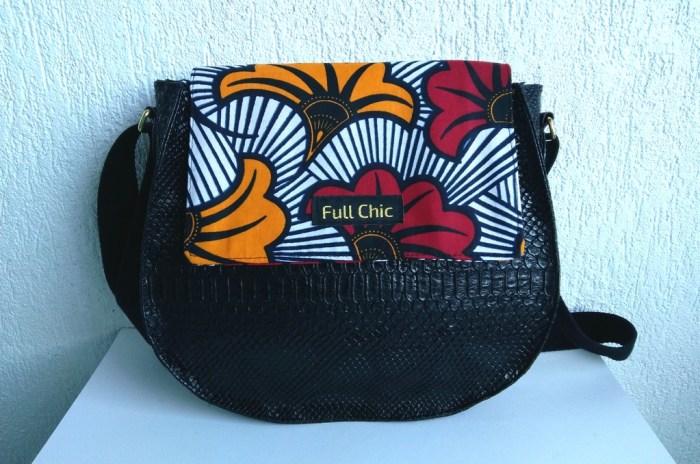 sac band noir fleur rouge jaune