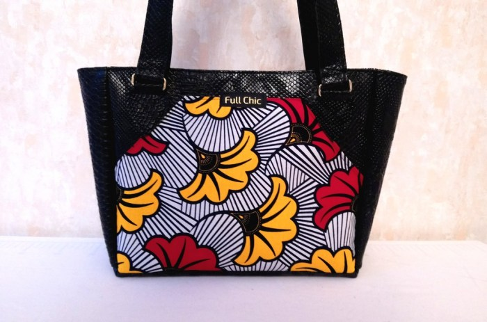 sac wax noir fleur rouge jaune