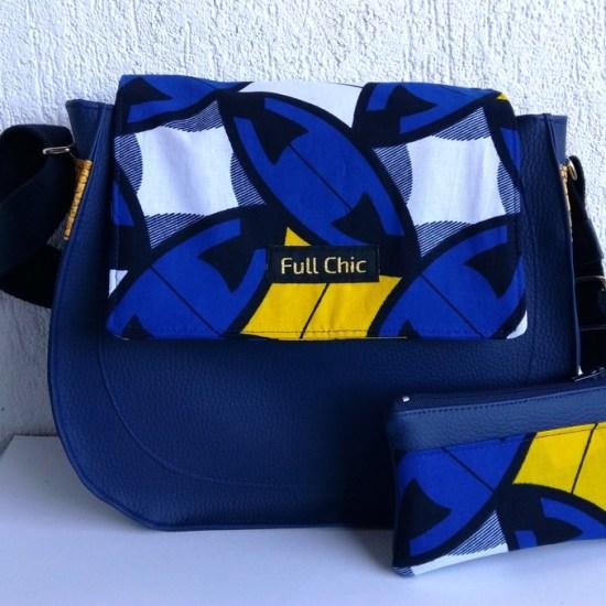 duo sac besace wax bleu jaune
