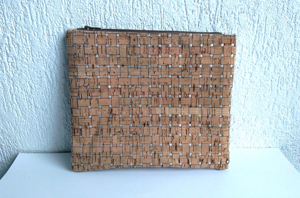 Trousse liège carrés argentés