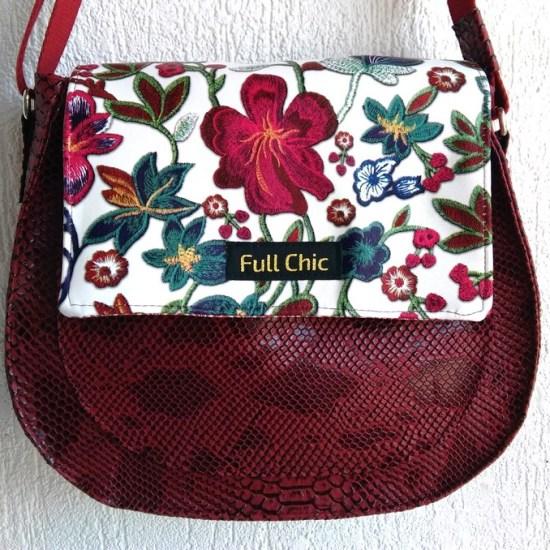 sac besace bordeaux fleurs
