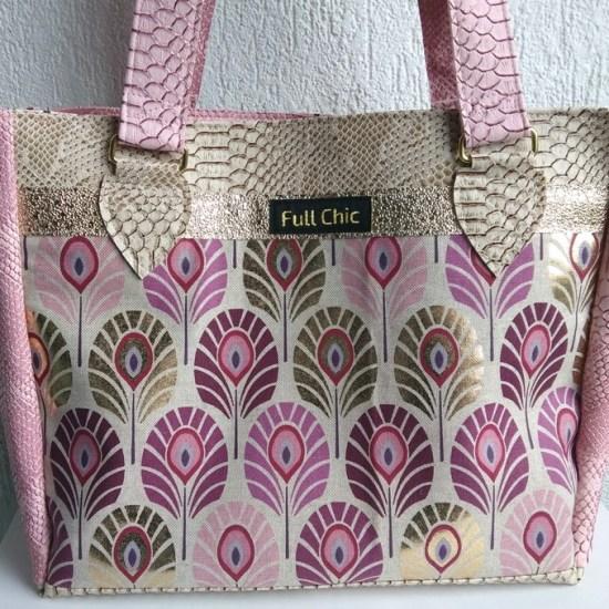 sac rose doré plumes de paon