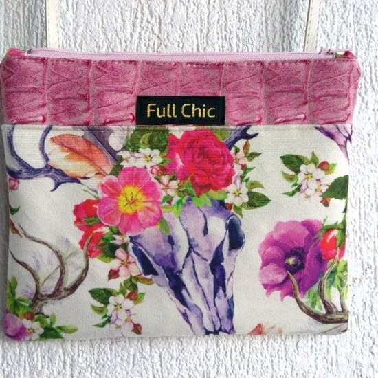 pochette rose crane fleurs