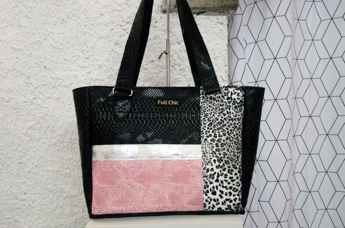 sac patch noir argent rose