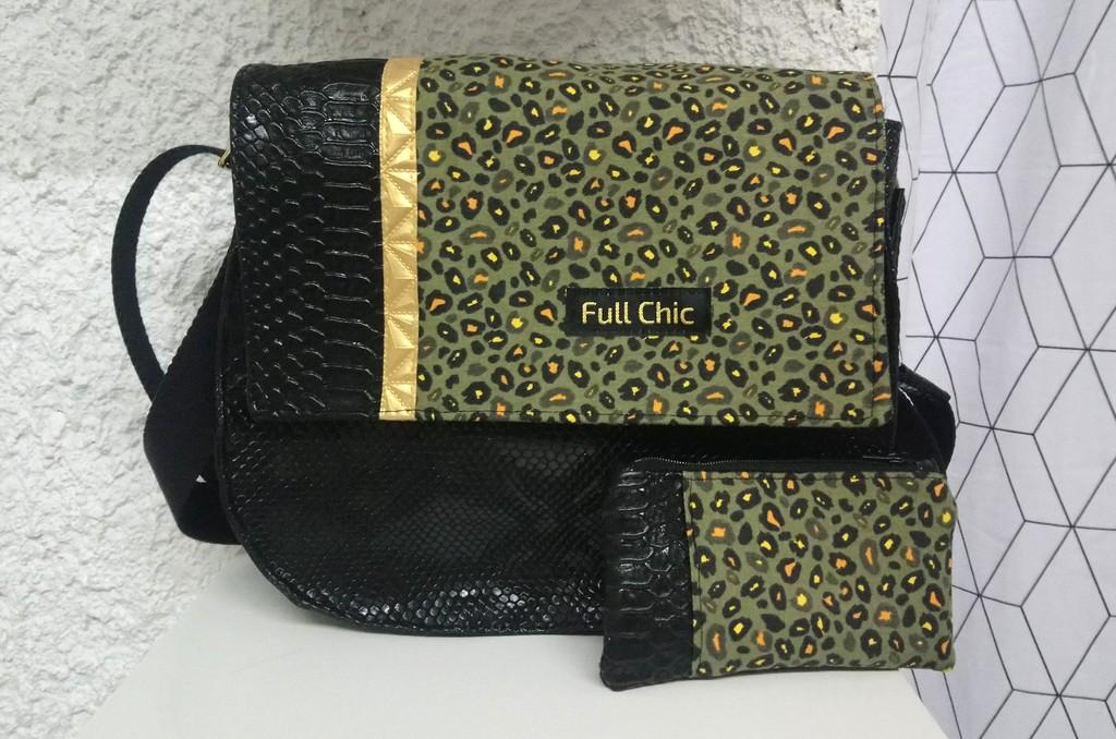 duo besace noire leopard kaki