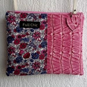 pochette rose fleurs