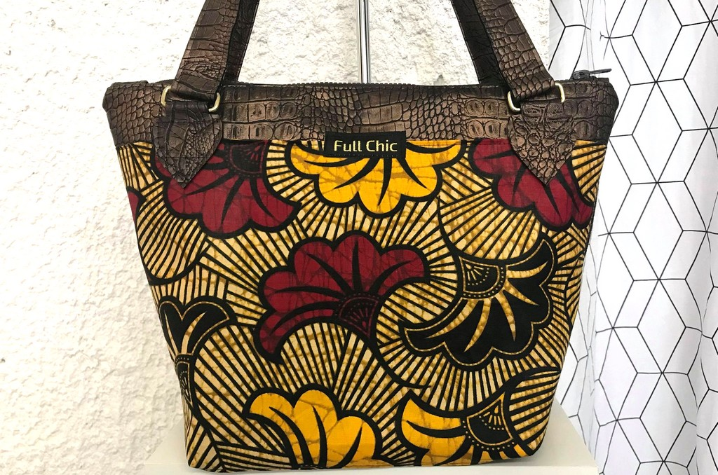sac t marron wax fleurs