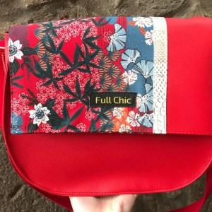 besace rouge fleurs cerisier blanc
