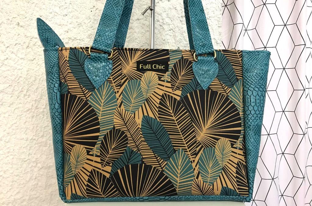 sac turquoise feuillage