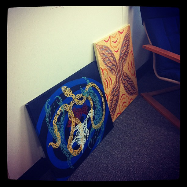 Our two new paintings from Wondonga TAFE students.